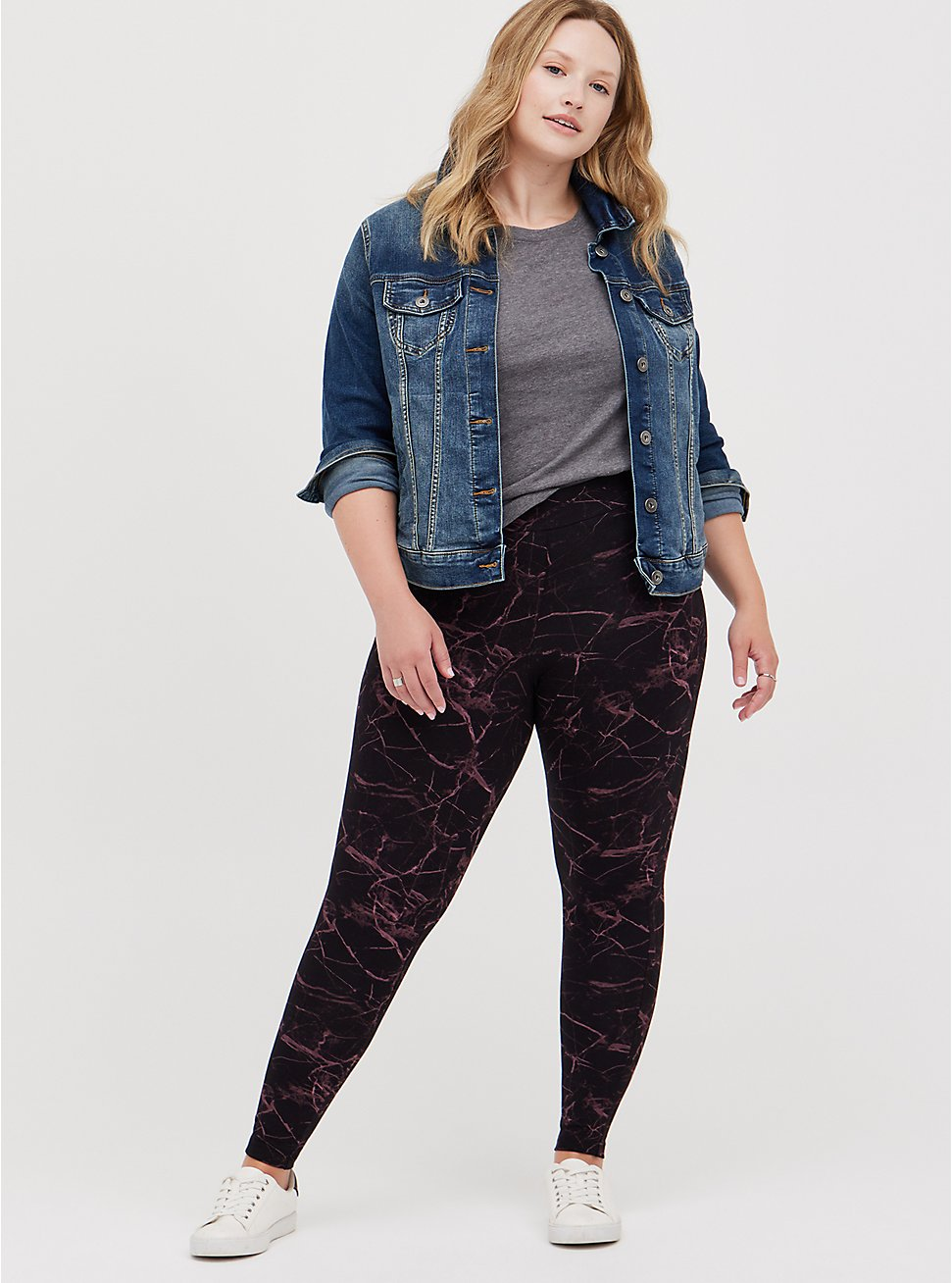 Plus Size Premium Legging - Marble Black, BLACK, hi-res
