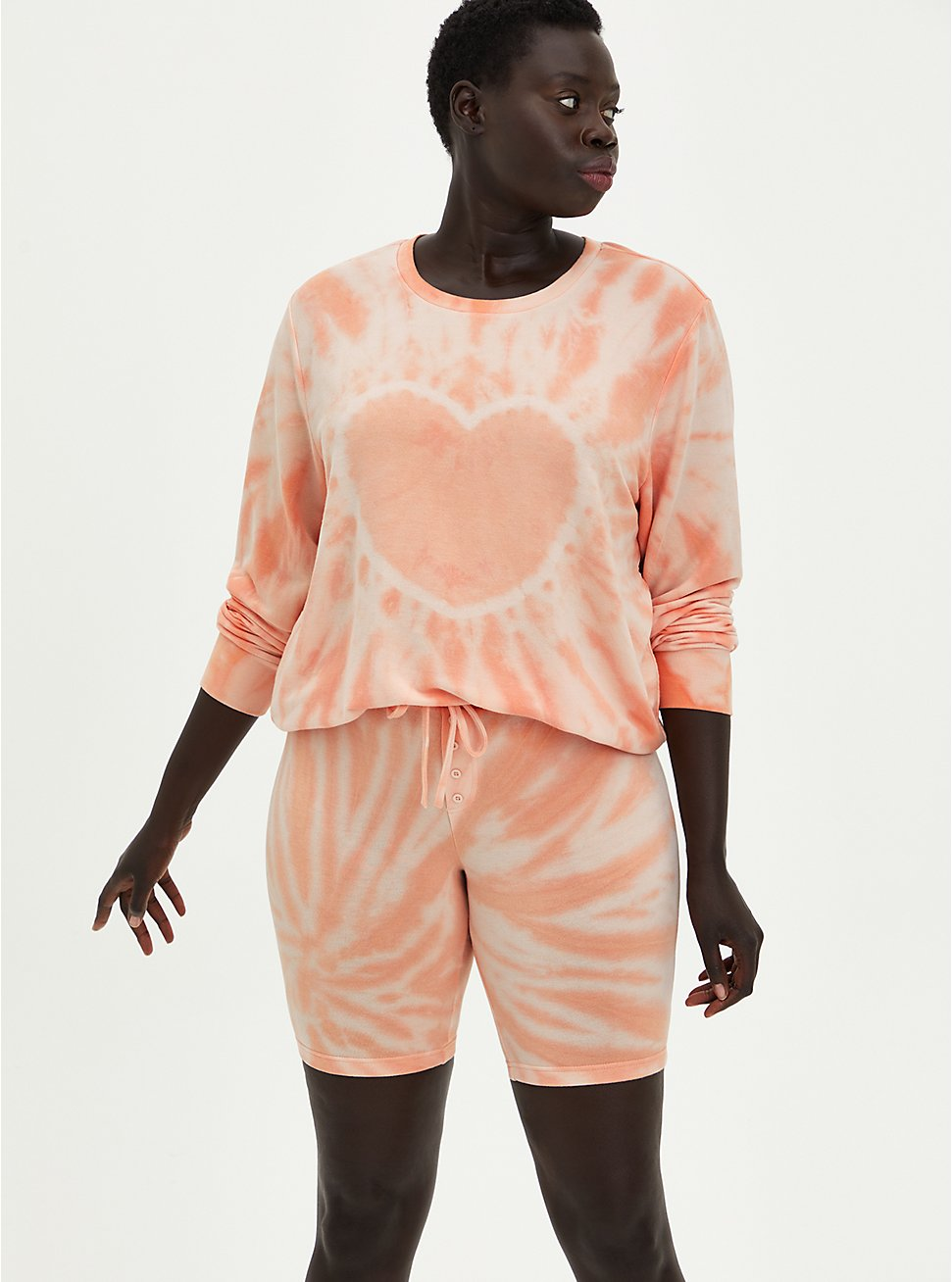 Plus Size Sleep Sweatshirt - Micro Modal Terry Tie-Dye Peach, MULTI, hi-res