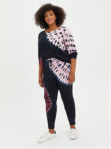 Sleep Tee - Micro Modal Terry Tie-Dye Black & Pink , MULTI, alternate