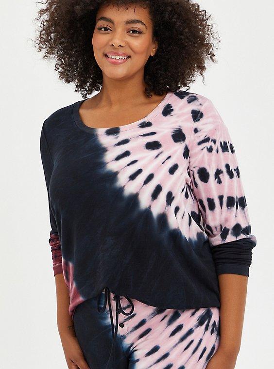 Sleep Tee - Micro Modal Terry Tie-Dye Black & Pink , MULTI, hi-res