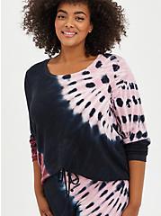 Plus Size Sleep Tee - Micro Modal Terry Tie-Dye Black & Pink , MULTI, hi-res