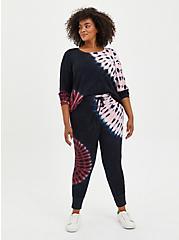 Sleep Legging -  Micro Modal Terry Tie-Dye Black & Pink , MULTI, alternate