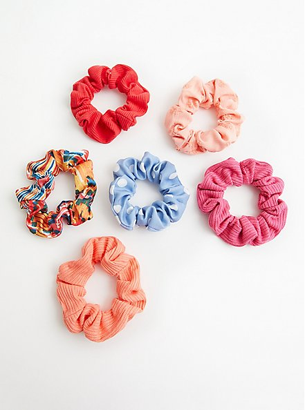 Bright Pink Floral Scrunchie Pack - Set of 6 , , alternate