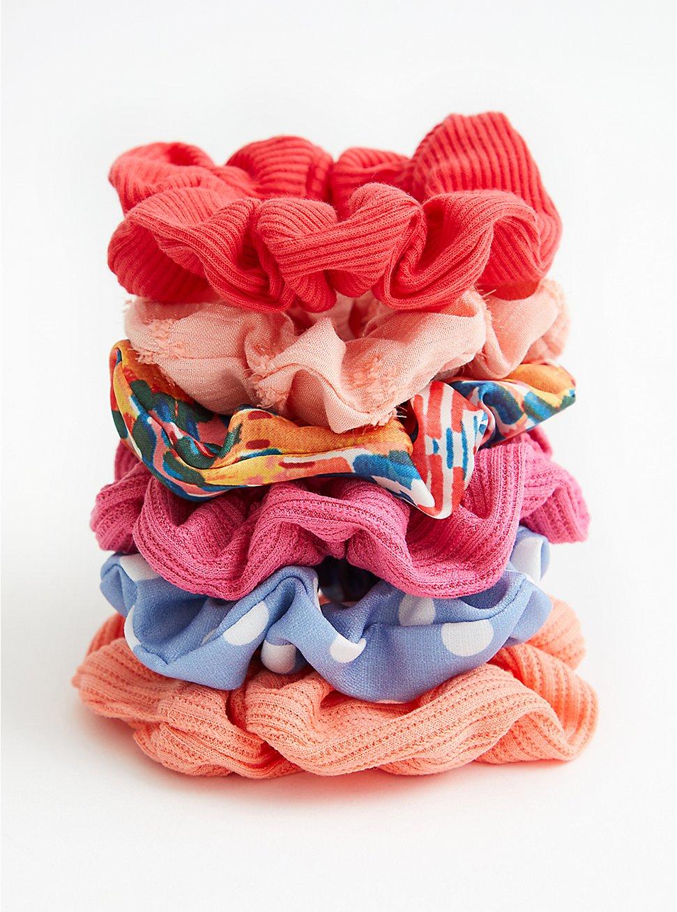 Bright Pink Floral Scrunchie Pack - Set of 6 , , hi-res