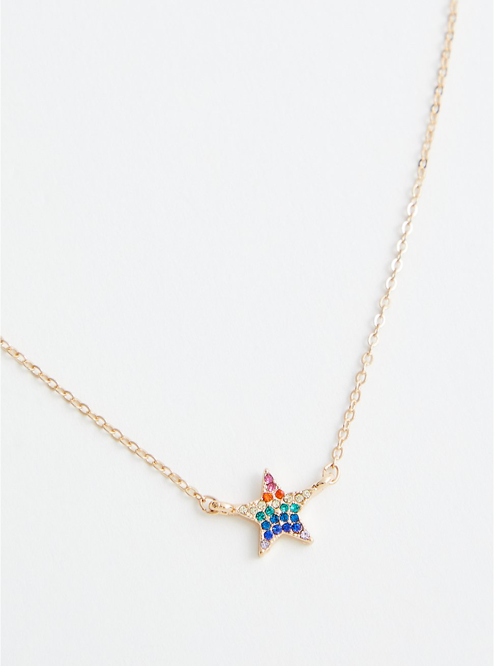 Rainbow Star Delicate Necklace - Gold Tone, , hi-res