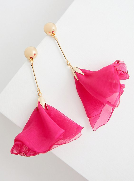Pink Floral Statement Earring - Gold Tone, , hi-res