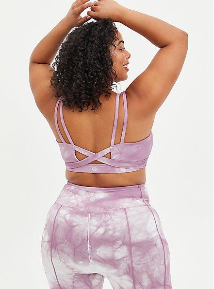 Wicking Twist Back Active Sports Bra - Tie Dye Purple, TIE DYE, alternate