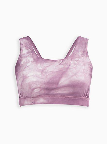 Wicking Twist Back Active Sports Bra - Tie Dye Purple, TIE DYE, hi-res