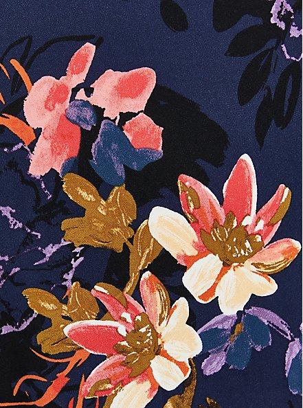 Zip Front Shirt Dress - Stretch Challis Floral Blue, FLORAL - BLUE, alternate