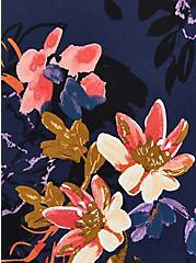 Plus Size Sleeveless Zip-Front Shirt Dress - Stretch Challis Blue Floral, FLORAL - BLUE, alternate