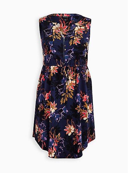 Zip Front Shirt Dress - Stretch Challis Floral Blue, FLORAL - BLUE, hi-res