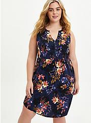 Plus Size Sleeveless Zip-Front Shirt Dress - Stretch Challis Blue Floral, FLORAL - BLUE, hi-res