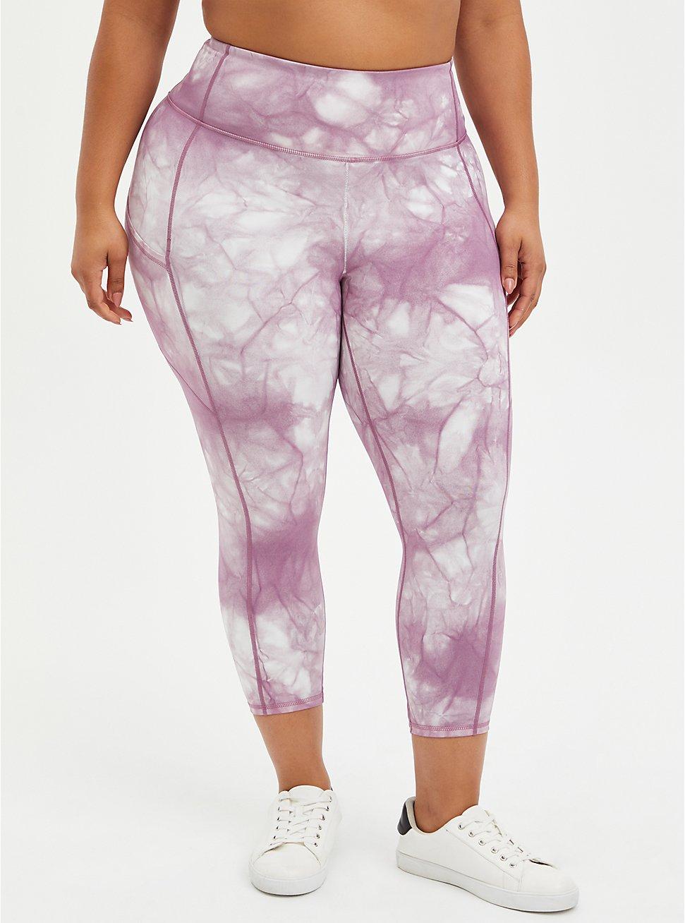 Wicking Active Crop Legging - Tie Dye Purple, TIE DYE, hi-res