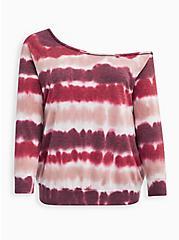 Off-Shoulder Sweatshirt - Lightweight French Terry Tie Dye Wine, OTHER PRINTS, hi-res