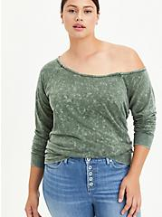 Off Shoulder Sweatshirt - Lightweight French Terry Mineral Wash Grey, OTHER PRINTS, hi-res