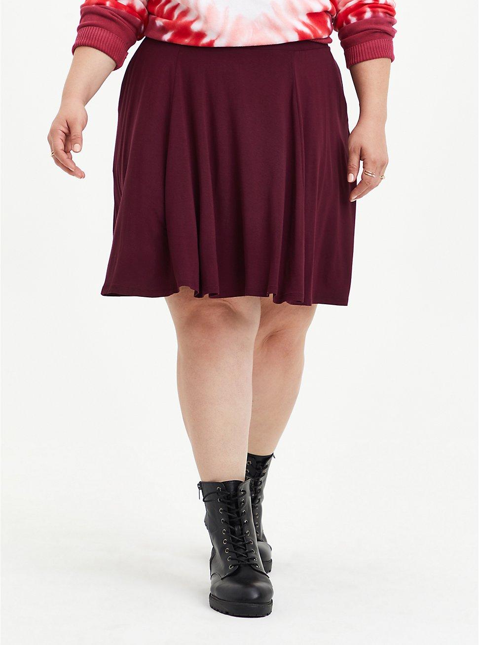Circle Mini Skirt - Super Soft Burgundy, , hi-res
