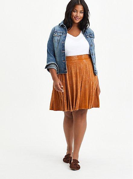 Circle Mini Skirt - Super Soft Mineral Wash Light Brown , ROASTED PECAN, alternate