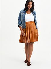 Plus Size Circle Mini Skirt - Super Soft Mineral Wash Light Brown , ROASTED PECAN, alternate