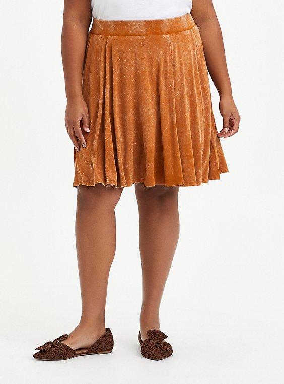 Circle Mini Skirt - Super Soft Mineral Wash Light Brown , ROASTED PECAN, hi-res