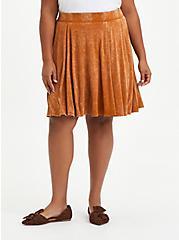 Plus Size Circle Mini Skirt - Super Soft Mineral Wash Light Brown , ROASTED PECAN, hi-res