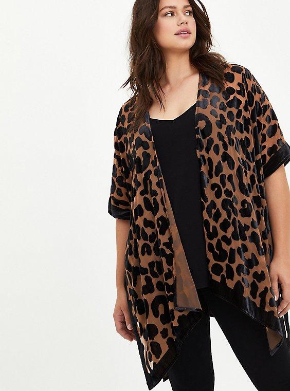 Burnout Velvet Kimono - Leopard, ANIMAL, hi-res