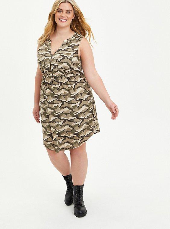 Zip Front Shirt Dress - Stretch Challis Camo, CAMO, hi-res