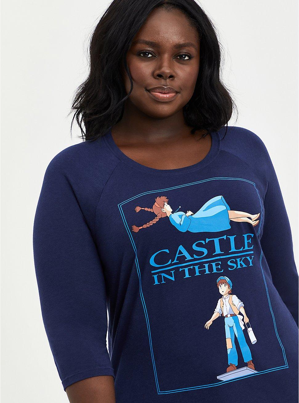 Her Universe Studio Ghibli Raglan Top - Heritage Slub Castle In The Sky Black, PEACOAT, hi-res