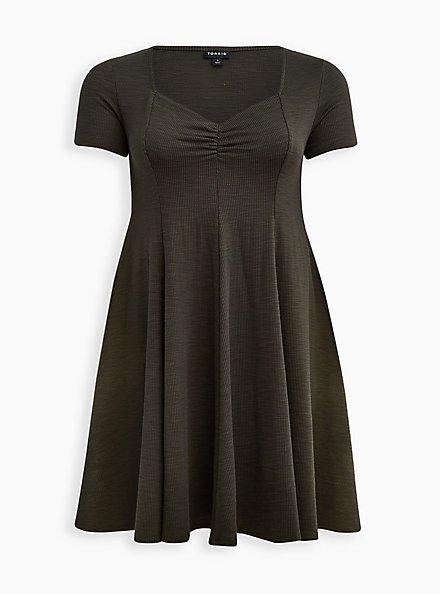 Sweetheart Fit & Flare Midi Dress - Ribbed Olive, DEEP DEPTHS, hi-res