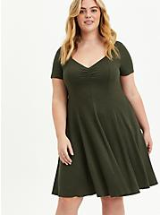 Plus Size Sweetheart Fit & Flare Midi Dress - Ribbed Olive, DEEP DEPTHS, hi-res