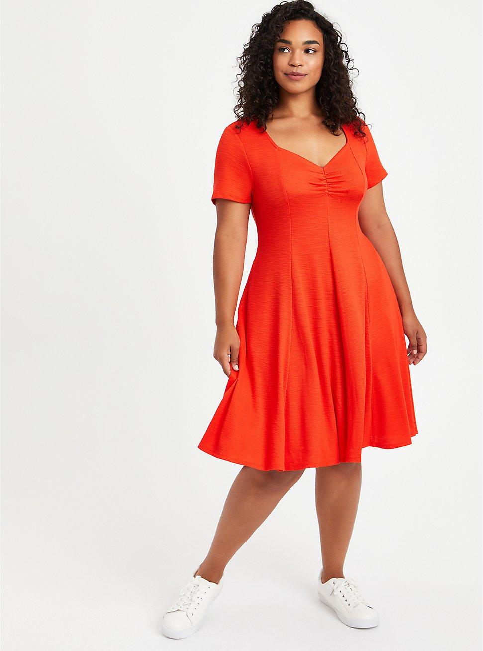 Sweetheart Fit & Flare Ribbed Midi Dress - Orange, GRENADINE, hi-res