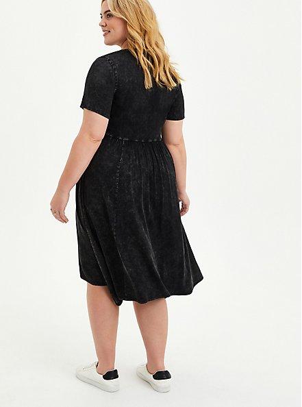 Handkerchief Shirt Dress - Stretch Challis Mineral Wash Black, TIE DYE-BLACK, alternate