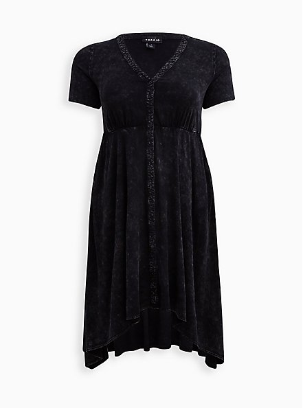 Handkerchief Shirt Dress - Stretch Challis Mineral Wash Black, TIE DYE-BLACK, hi-res