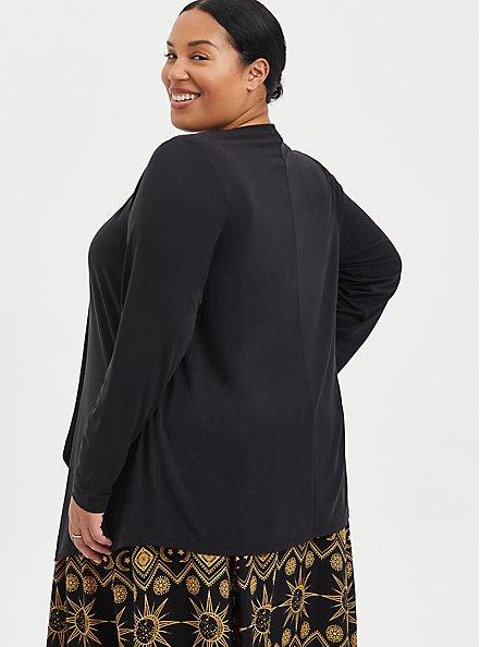 Drape Front Cardigan - Cupro Black, DEEP BLACK, alternate