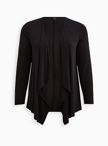 Drape Front Cardigan - Cupro Black, DEEP BLACK, hi-res