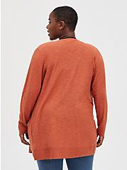 Boyfriend Pocket Cardigan - Slub Auburn , , alternate