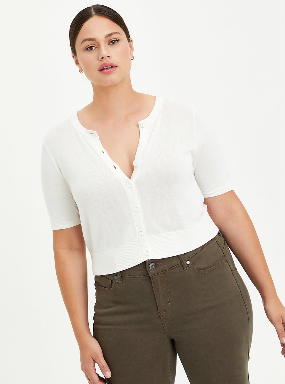 Crop Cardigan Sweater - Rayon + Clip Dot Chiffon White, BRIGHT WHITE, hi-res