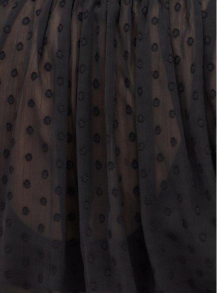 Crop Cardigan Sweater - Rayon + Clip Dot Chiffon Black, DEEP BLACK, alternate