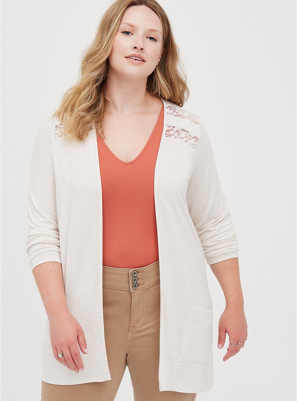Lace Cardigan - Super Soft Oatmeal, OATMEAL HEATHER, hi-res