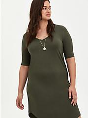 Super Soft Olive T-Shirt Dress, DEEP DEPTHS, hi-res