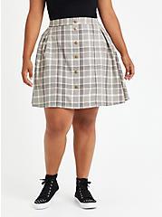 Skirt - Twill Plaid Grey, PLAID - IVORY, hi-res
