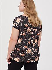 Dolman Top - Cupro Floral Black, OTHER PRINTS, alternate