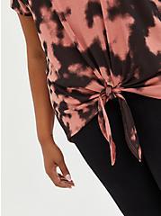 Plus Size Tie-Front Dolman Top - Cupro Tie-Dye Red, OTHER PRINTS, alternate