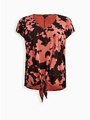 Plus Size Tie-Front Dolman Top - Cupro Tie-Dye Red, OTHER PRINTS, hi-res
