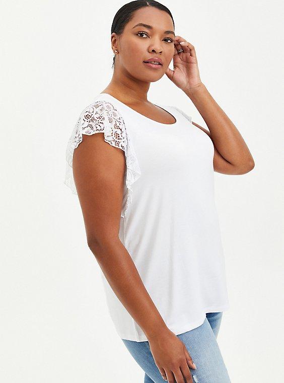 Flutter Sleeve Top - Super Soft White, BRIGHT WHITE, hi-res