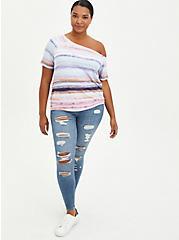 Off-Shoulder Tee - Super Soft Iridescent Stripe, OTHER PRINTS, alternate