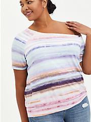 Off-Shoulder Tee - Super Soft Iridescent Stripe, OTHER PRINTS, hi-res