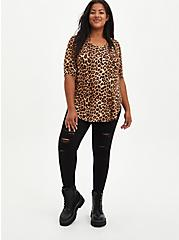 Plus Size Favorite Tunic Henley - Super Soft Leopard , LEOPARD, alternate