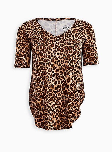 Favorite Tunic Henley - Super Soft Leopard , LEOPARD, hi-res