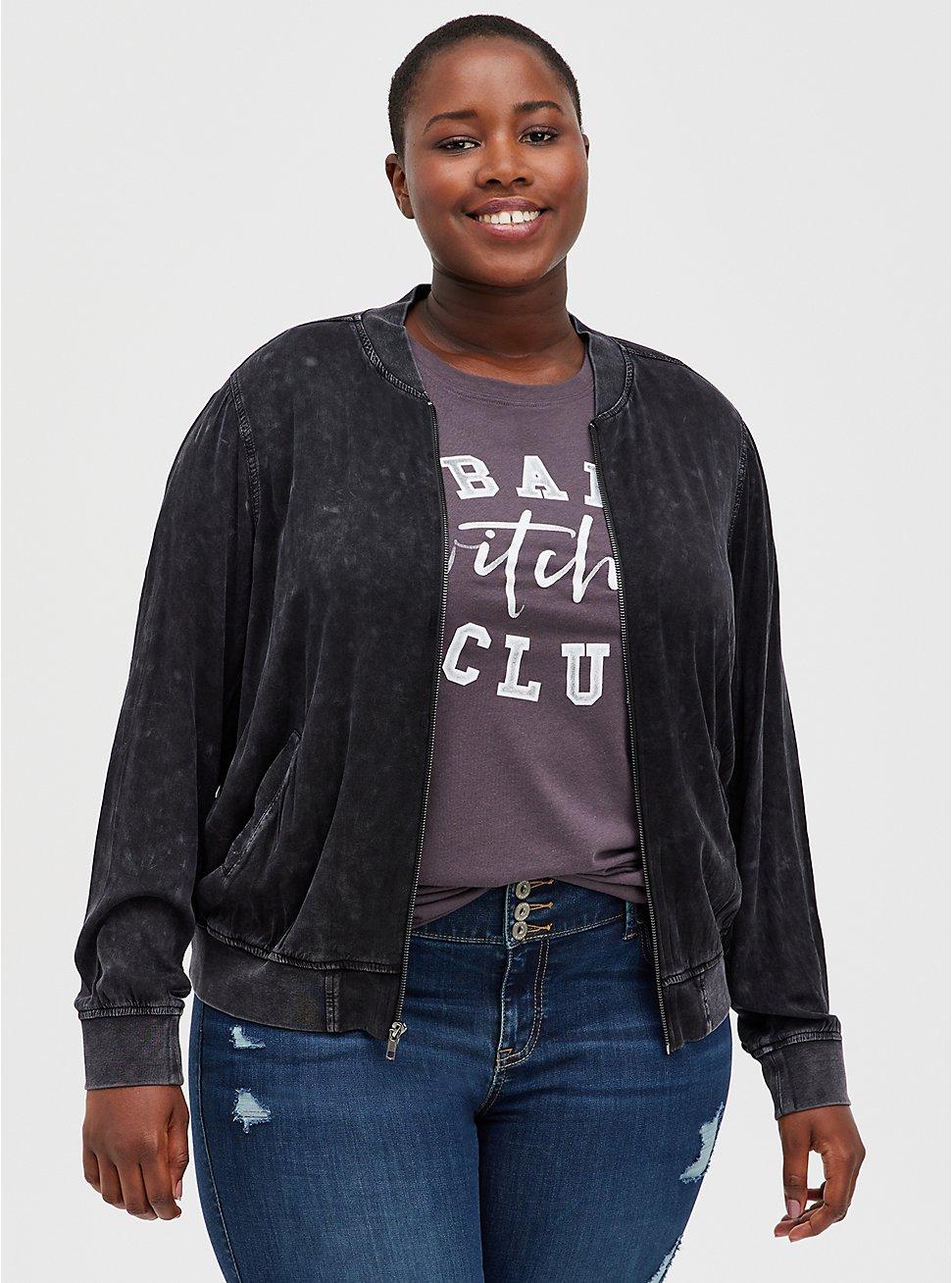 Black Acid Wash Challis Bomber, DEEP BLACK, hi-res
