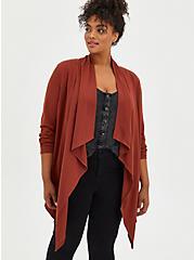 Brown Ponte Drape Front Kimono, BRANDY BROWN, hi-res